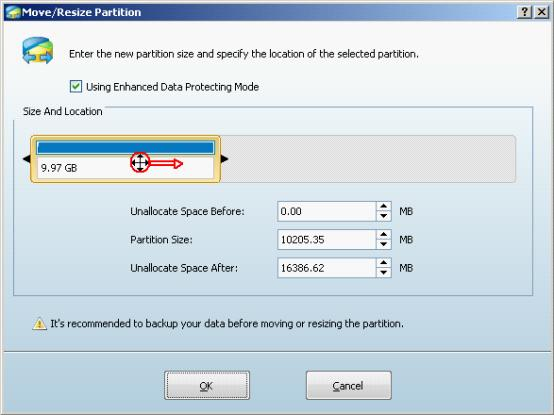 Resize partition in Windows Server 2003